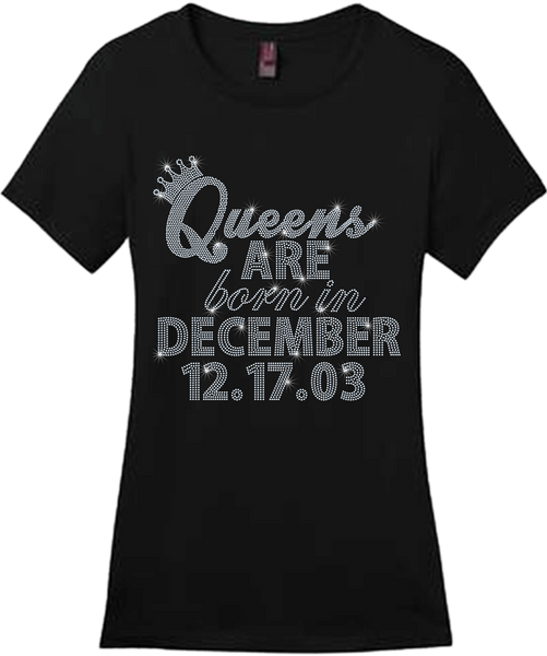 Queens Are Born In....Bling Short Sleeve Style Shirts
