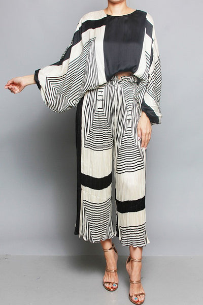 Oversized Top and Pleated Pants Set - Superior Boutique