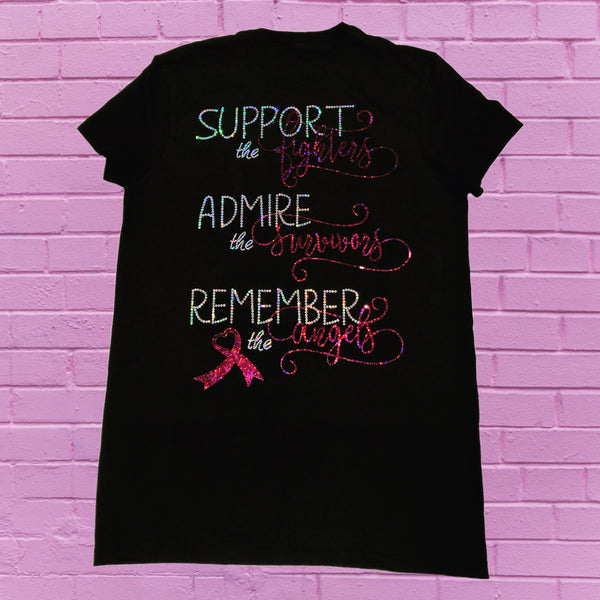 (Support, Admire, Remember) Breast Cancer Bling Shirt - Superior Boutique