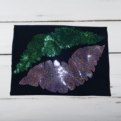 Sexy Pink & Green Bling Lips Shirt - Superior Boutique