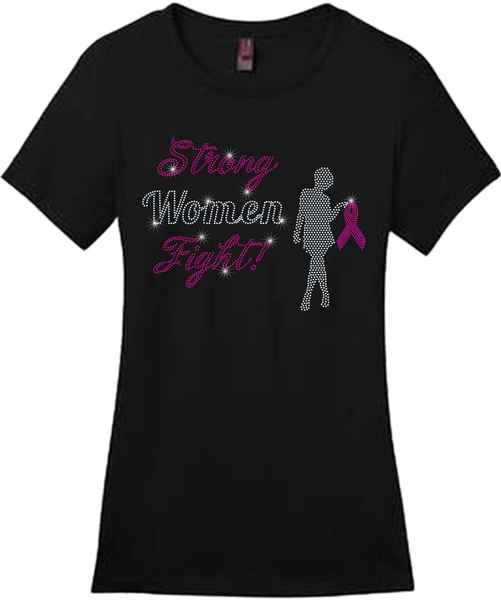 Strong Women Fight Bling Short Sleeve Style Shirts