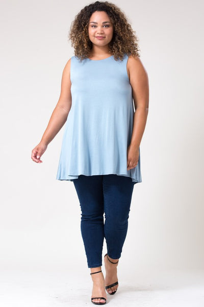 Curvy Sleeveless A Line Tunic Tank Top - Superior Boutique