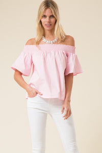 Off Shoulder Smocked Short Bell Sleeve Tunic Top - Superior Boutique