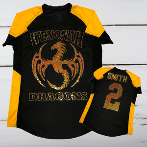Wenonah Dragons Bling Ladies Cutter Jersey - Superior Boutique