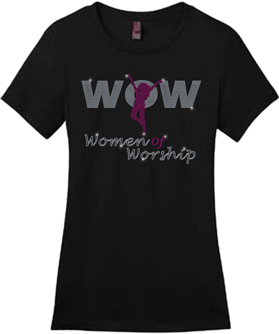 Women's Ministry Female Silhouette Bling Short Sleeve Style Shirts