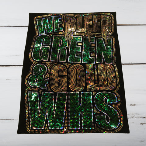 We Bleed Green & Gold Bling Shirt - Superior Boutique