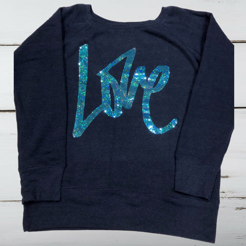 """LOVE"" Fleece Wide-neck Off Shoulder Sweatshirt - Superior Boutique"