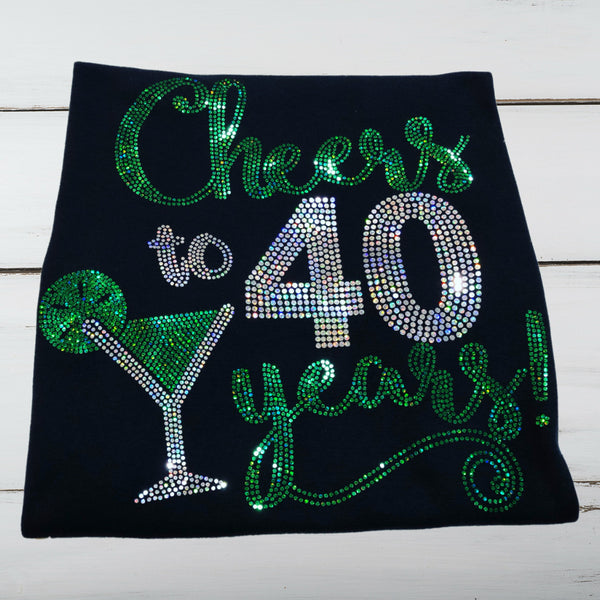 """Cheers"" Birthday/Anniversary Bling Shirt - Superior Boutique"