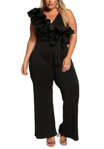 Curvy Glamorous Jumpsuit With Voluminous Ruffles - Superior Boutique