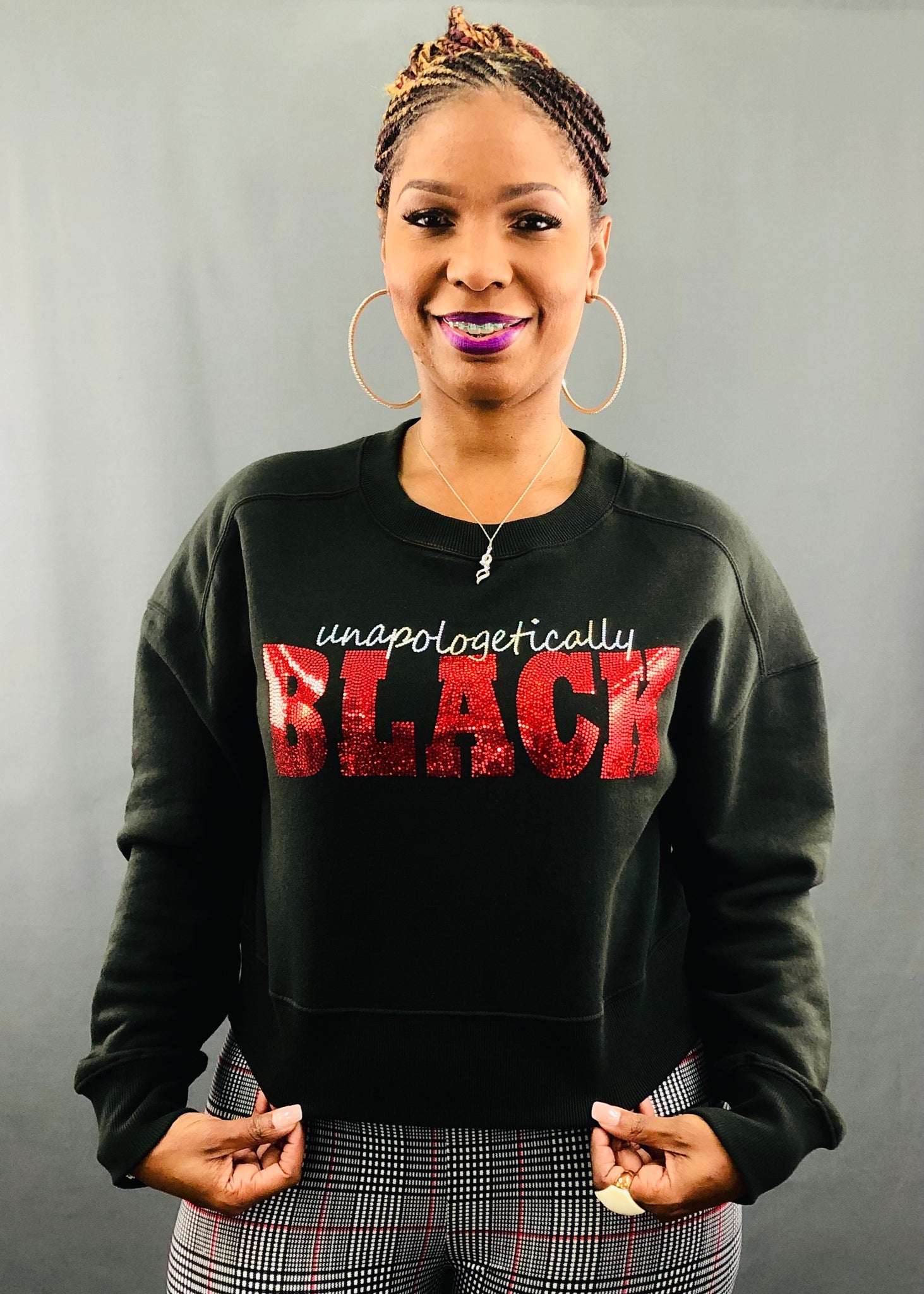 Unapologetically Black Bling Cropped Sweatshirt