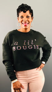 a lil' bougie Bling Cropped Sweatshirt