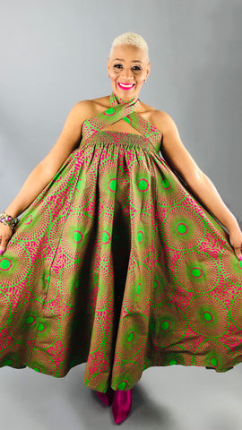 Pink & Green Maxi Skirt/Dress