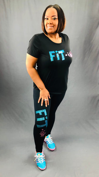 Fit · ish Bling Performance Tee (Teal & Pink)