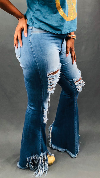 Frayed Out Jeans - Medium Blue