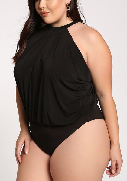Curvy High Neckline Bodysuit - Superior Boutique
