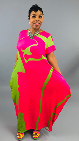 Hidden Faces Maxi Dress - PINK & GREEN