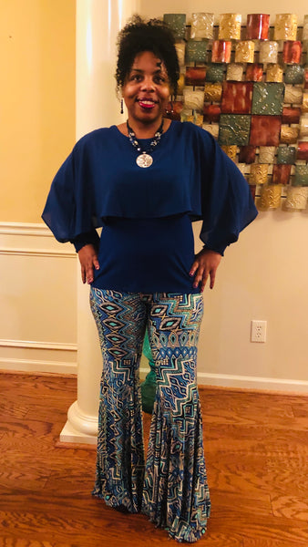 Blue Multi Bell Bottom Pants - Superior Boutique