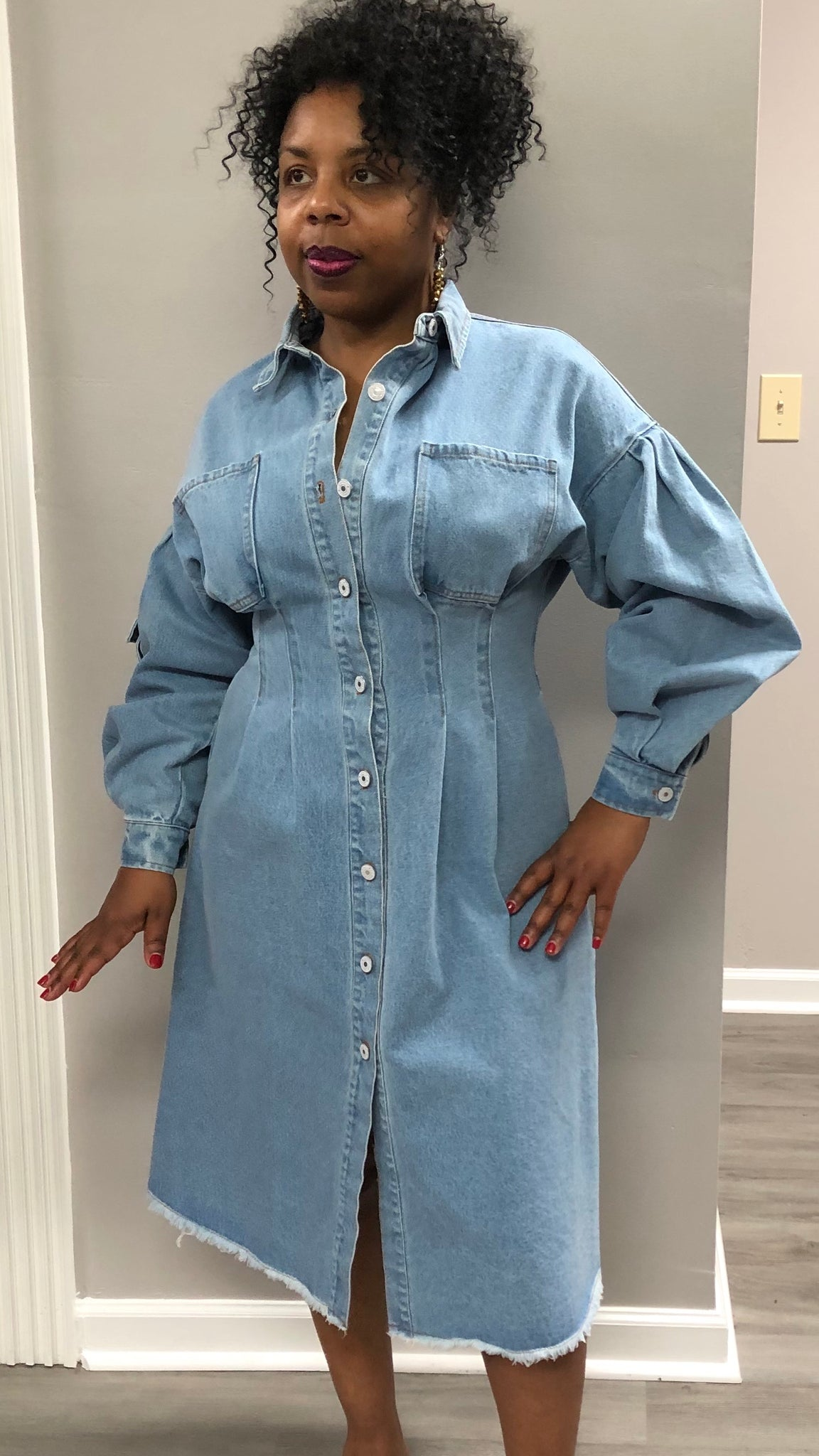 Bubble Sleeve Denim Dress - Superior Boutique