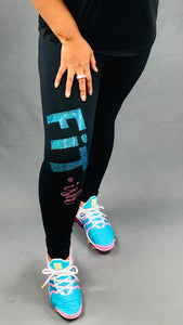 Fit · ish Bling Leggings (Teal & Pink)