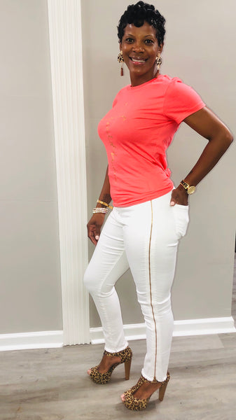 Gold Train Jeans (White)