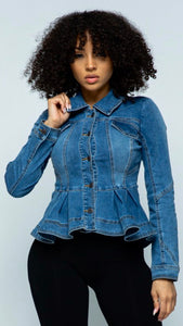 Doll-ish Denim Peplum Jacket