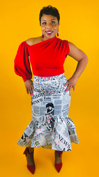 High Maintenance Hi-Low Skirt - NEWSPAPER