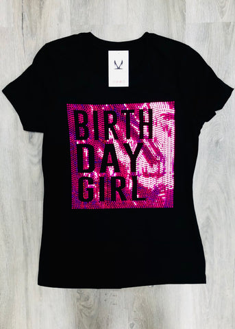 BIRTH DAY GIRL Bling Shirt