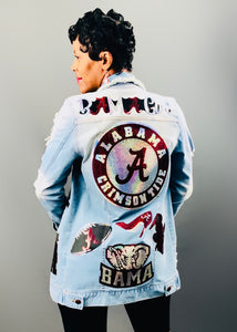 BAMA Girl Denim Bling Patchwork Jacket