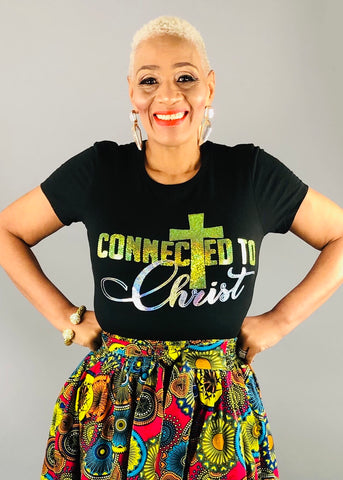 CONNECTED TO Christ Bling Shirt (yellow)