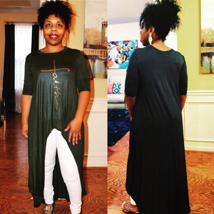 """Faith Bling"" Hi-Lo Maxi Top - Superior Boutique"
