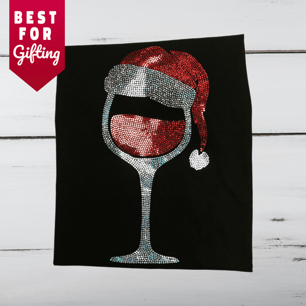Santa & Wine Bling Shirt (Long Sleeve)