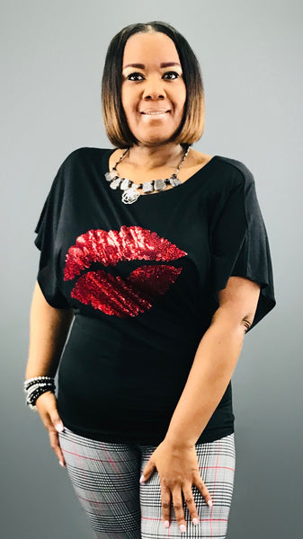 Sexy Red Lips Bling Shirt