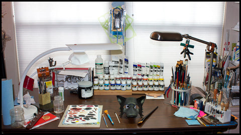 Eirewolf Creations art studio workspace, where Erin makes all the pretty things!