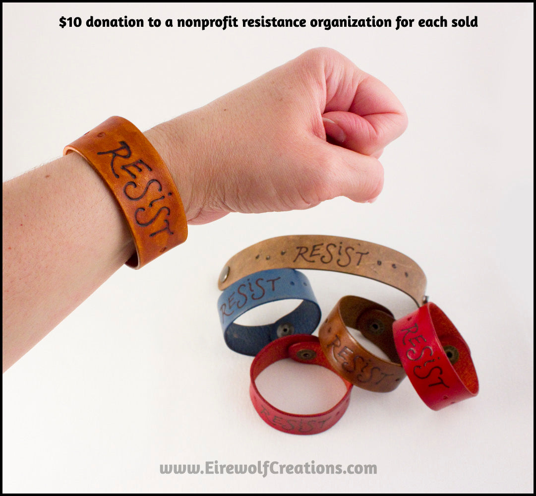 RESIST leather bracelet 1-inch handmade snap cuff with pyrography lettering resistance jewelry