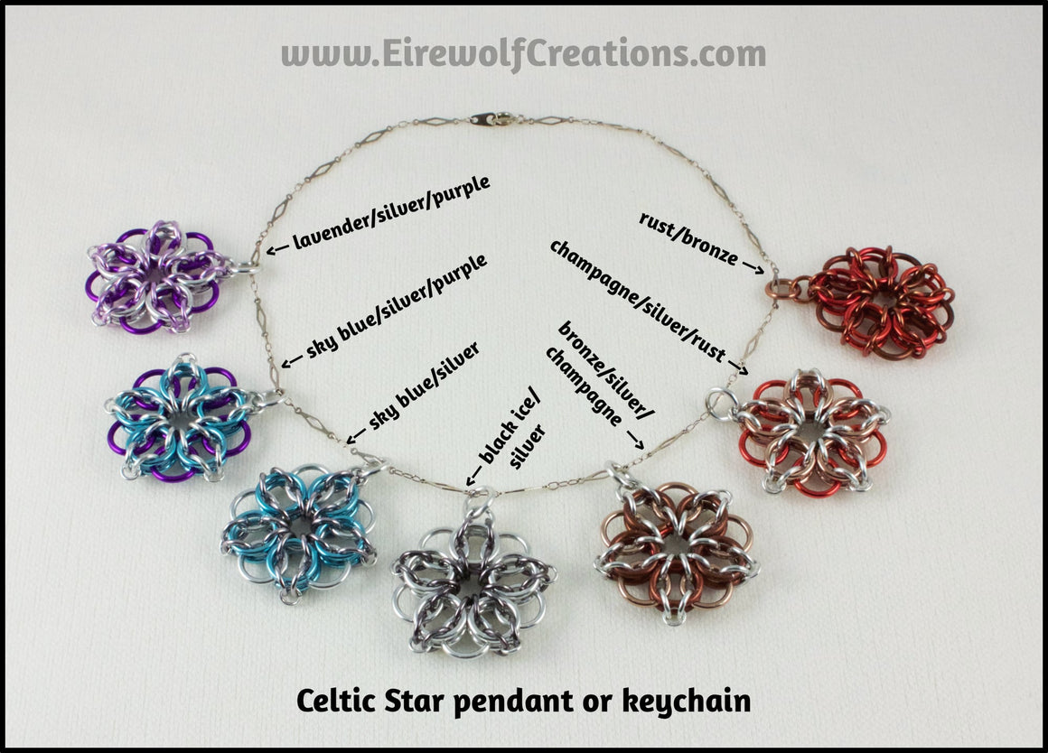 Celtic Star chainmaille pendant or keychain, chainmail jewelry or key chain, AKA maille or chain mail