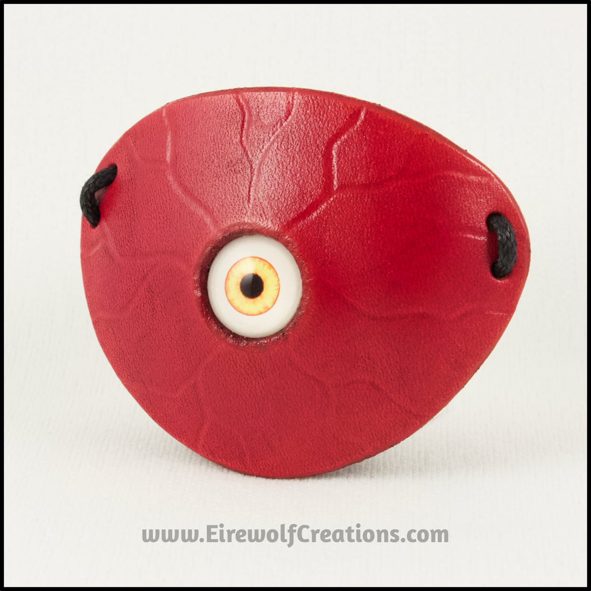 Creepy Yellow Eyeball pirate eye patch red leather handmade masquerade costume larp Halloween