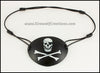 Meta Jolly Roger, skull with an eyepatch and crossbones, leather pirate eye patch for masquerade costume, cosplay, LARP
