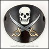 A handmade leather carved and painted skull and swords Jolly Roger eye patch, for a masquerade costume or pirate cosplay. By Erin Metcalf of Eirewolf Creations.