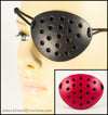See-Through Perforated handmade leather eye patch with an industrial look for pirate cosplay masquerade costume or larp