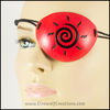 Sun Spiral handmade leather pirate eye patch Halloween masquerade costume black and orange