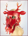 Red and Gold Eastern Dragon mask, handmade leather masquerade costume for Chinese New Year, Mardi Gras, Halloween