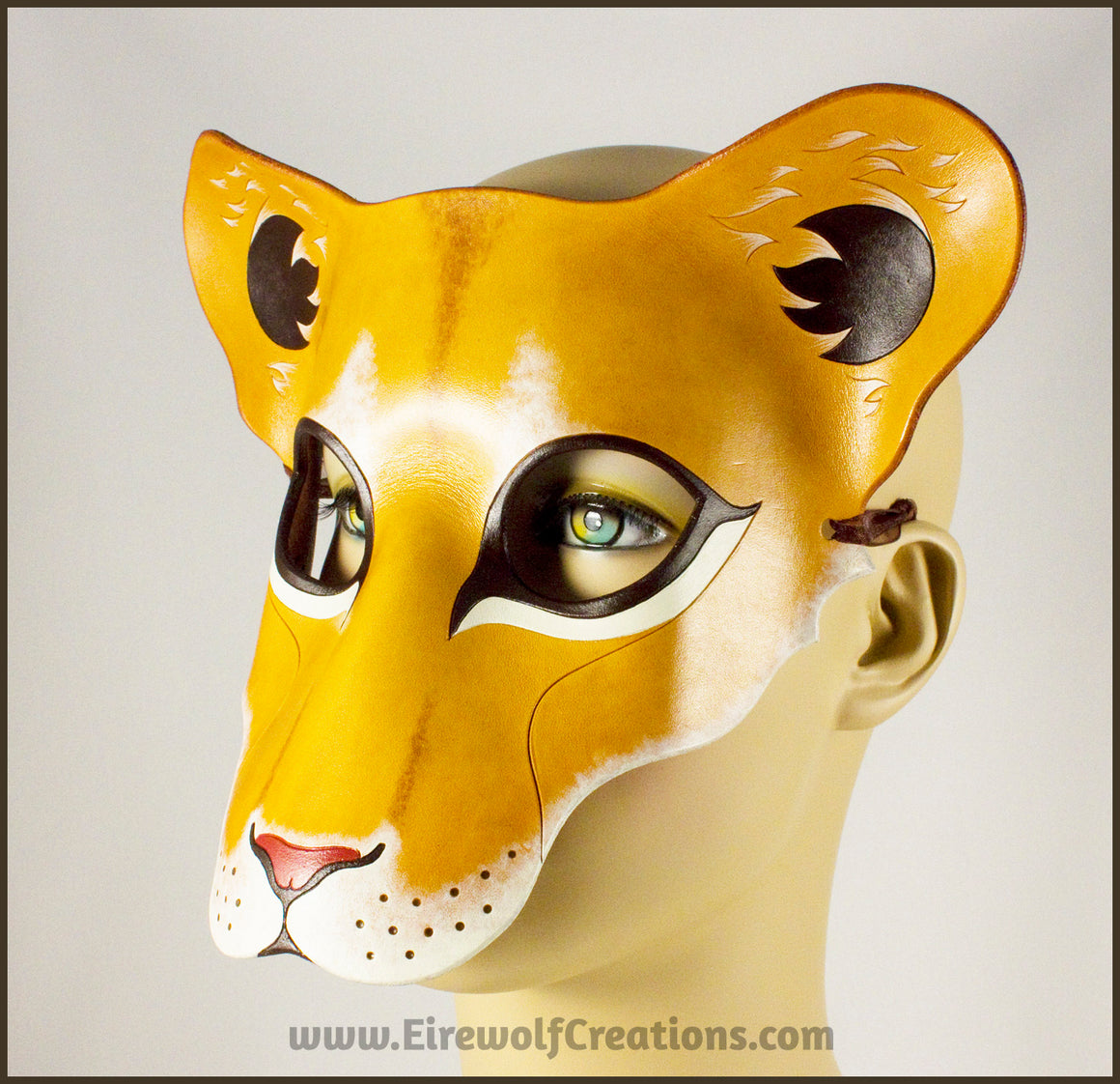 Lioness mask, handmade leather lion wild cat mask for Halloween, Lion King theater, Mardi Gras, masquerade costume