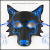 Spiral Wolf handmade leather masquerade mask with asymmetrical spiral designs, Mardi Gras or Halloween costume, blue and black