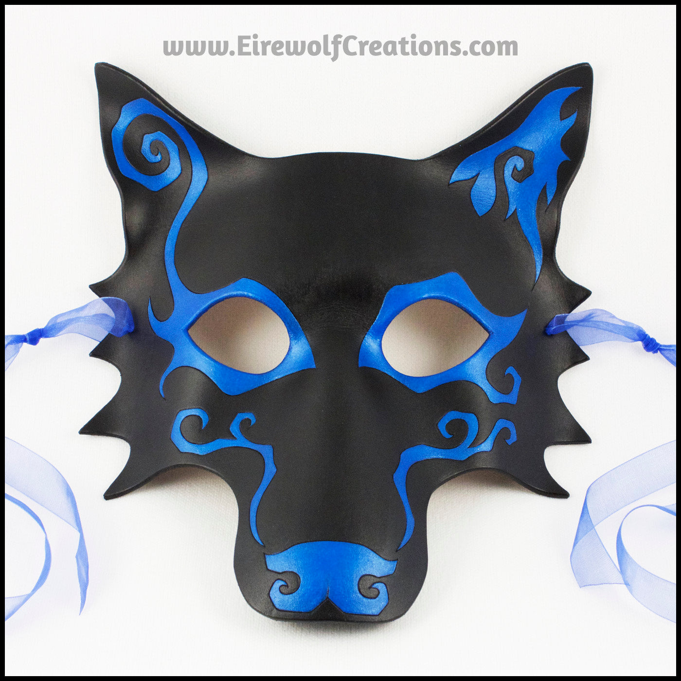 Marvelous Spiral Wolf Handmade Leather Masquerade Mask With Asymmetrical Spiral  Designs, Mardi Gras Or Halloween Costume, Blue And Black