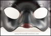A handmade black cat leather masquerade mask with dark red nose and inner ears. By Erin Metcalf of Eirewolf Creations.