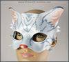 A handmade leather silver-gray tabby cat mask for a masquerade costume, with handpainted stripes, a dark pink nose and light pink inner ears. By Erin Metcalf of Eirewolf Creations.