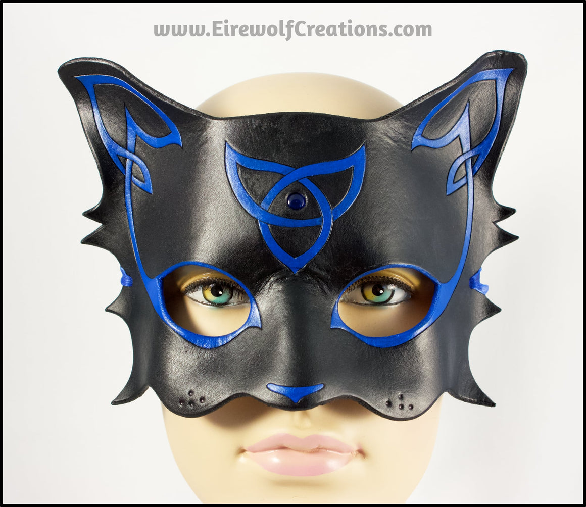 Celtic Cat mask, Blue and Black handmade leather masquerade mask with cabochon, kitty cat costume for Halloween, Mardi Gras or fantasy LARP