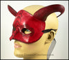 Scaled red dragon masquerade costume half mask with curving horns. By Erin Metcalf of Eirewolf Creations.