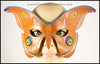 Handmade leather moth mask for a masquerade costume, handpainted to resemble the Antheraea Polyphemus moth. By Erin Metcalf of Eirewolf Creations.