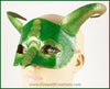 Green dragon masquerade costume half mask with golden highlights on the scales and curved horns. By Erin Metcalf of Eirewolf Creations.